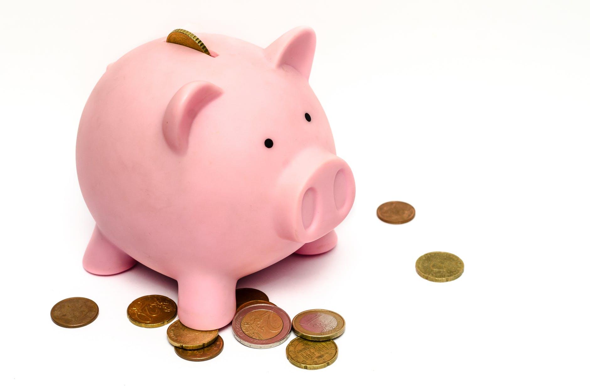 Taxa de Conveniência - Foto de um cofrinho de porco com moedas